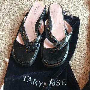 Taryn Rose black patent leather sandals
